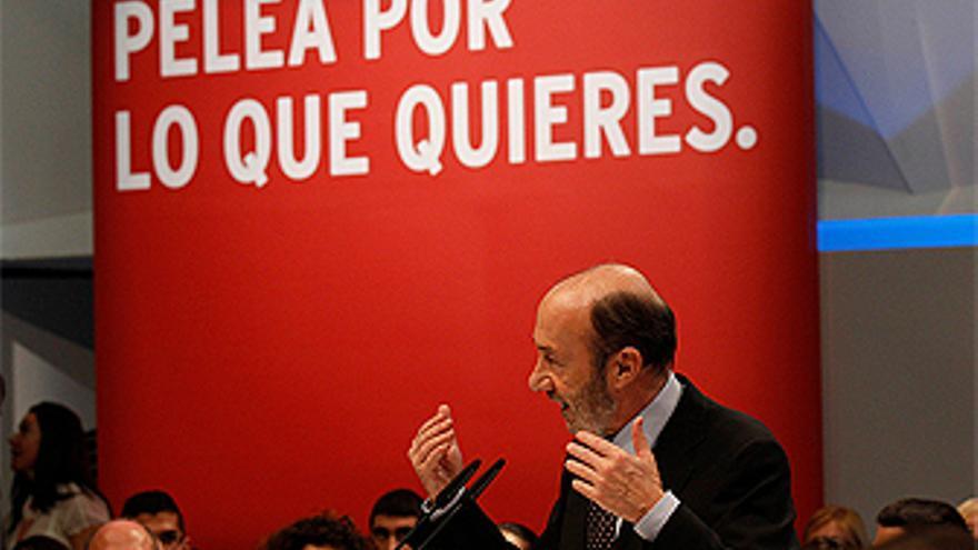 Alfredo Pérez Rubalcaba, durante el mitin en Santa Cruz de Tenerife. (PSOE)