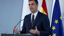 Pedro Sánchez en una comparecencia en Moncloa.