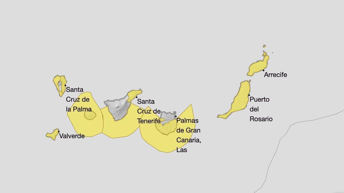 Aviso amarillo por viento en Canarias
