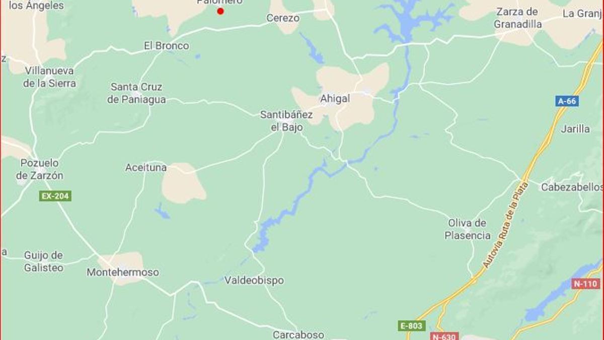 Situación de Palomero al noroeste de Plasencia junto a las Hurdes