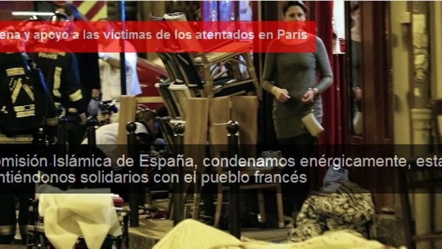 Imagen de condena de los atentados yihadistas en París del 13 de noviembre compartida en la página web de la Comisión Islámica de España.