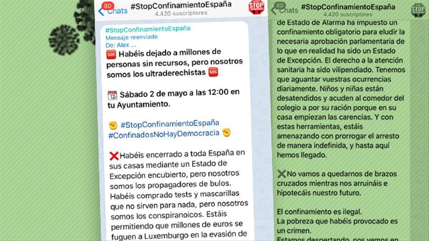 Los anticonfinamiento se crecen en Telegram: llaman a las caceroladas, Nino Bravo y quedarse quieto dos minutos