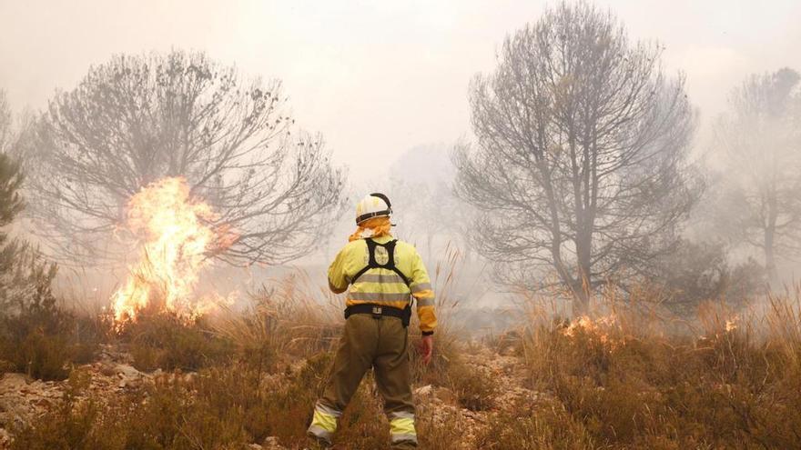 Un bombero forestal actuando en los trabajos de extinción del incendio de Beneixama