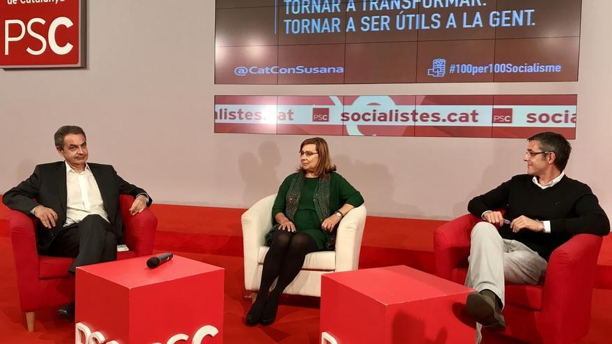 Zapatero y Madina defienden ante el PSC que había que abstenerse con Rajoy