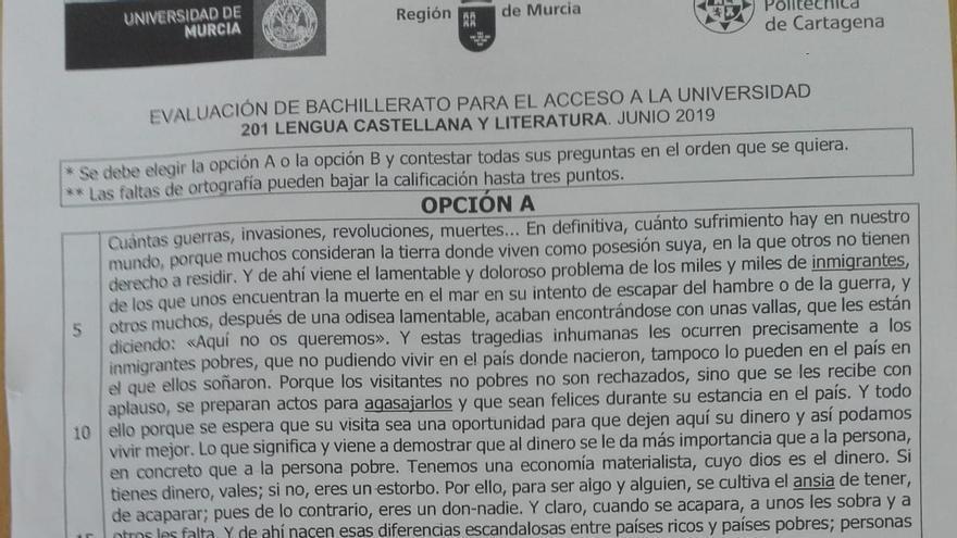 El examen de Lengua y Literatura de la EBAU en Murcia