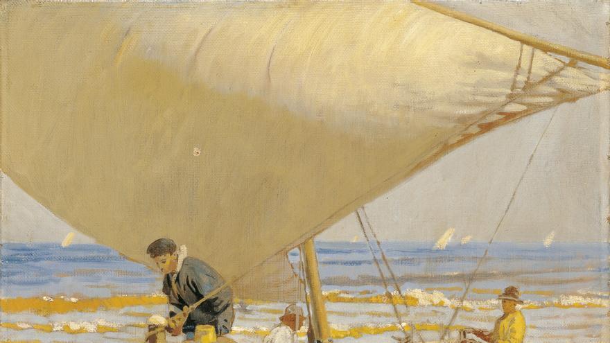 'Pescadores arrastrando la barca', de Enrique Martínez Cubells