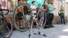 Repartidores de Deliveroo en una de las convocatorias a huelga de este verano en Madrid