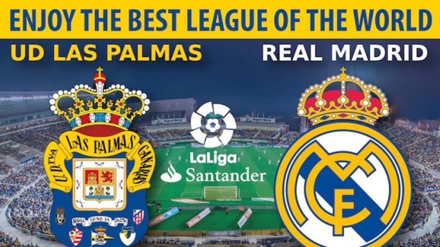 Cartel promocional de la oferta de la UD Las Palmas frente al Real Madrid.