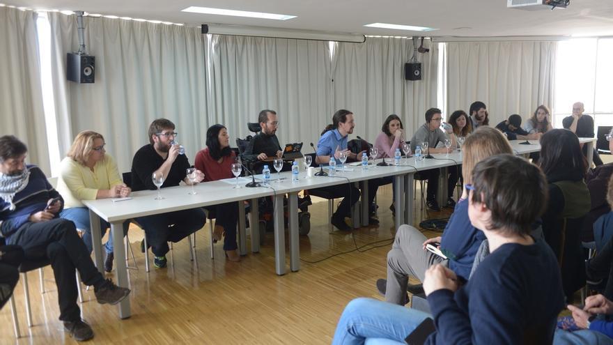 Pablo Iglesias y su 'ejecutiva', en un Consejo Ciudadano de Podemos.