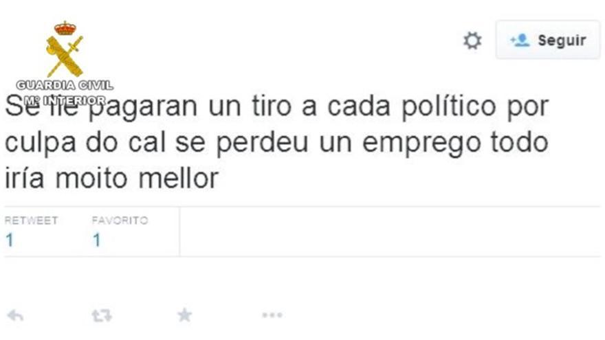 """Uno de los tweets mostrados pola Guardia Civil como muestra de """"incitación al odio"""""""
