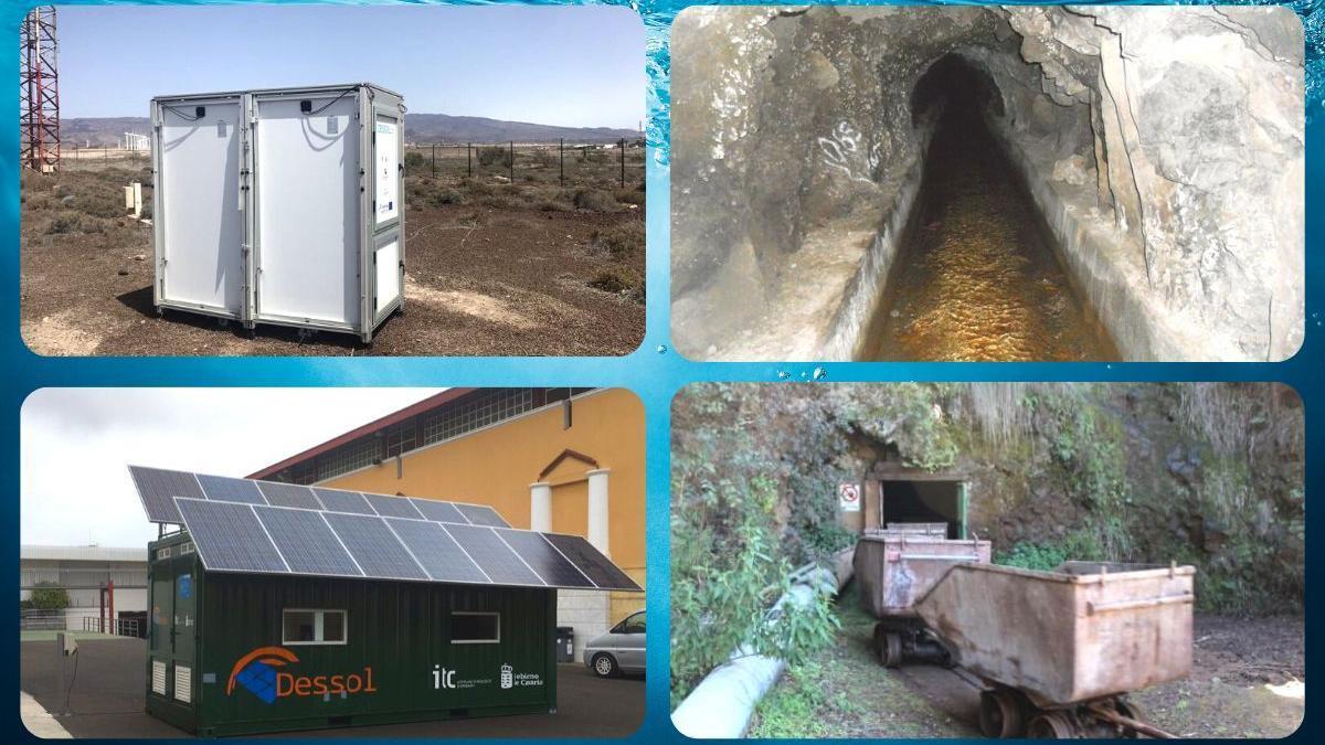 En la parte superior izquierda, una desaladora móvil que funciona con fotovoltaica plegable y en la esquina inferior, una planta con placas solares, ambas en las instalaciones del ITC; a la derecha, galerías para la captación de agua en Canarias.