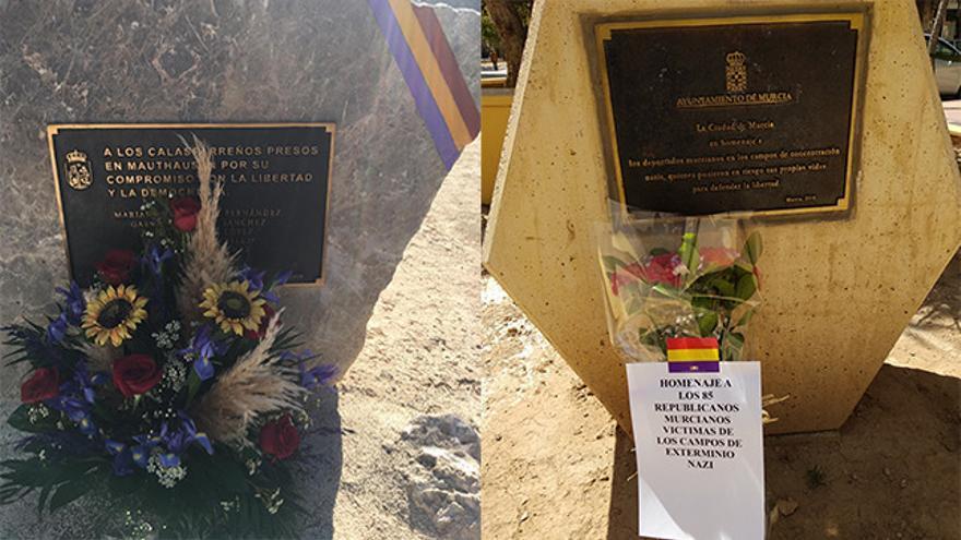 A la izquierda el monumento de Calasparra que rinde homenaje a los siete vecinos deportados a campos nazis (J.J. López Jiménez. Asociación 14.4.) // A la derecha el monumento de la ciudad de Murcia que recuerda a los 85 víctimas murcianas del nazismo (Pedro G.F.)