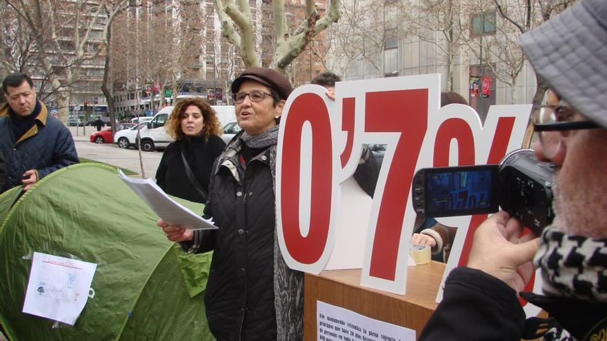 Acampada simbólica que se hizo en Madrid en diciembre de 2012 en homenaje a las protestas de los años 90.