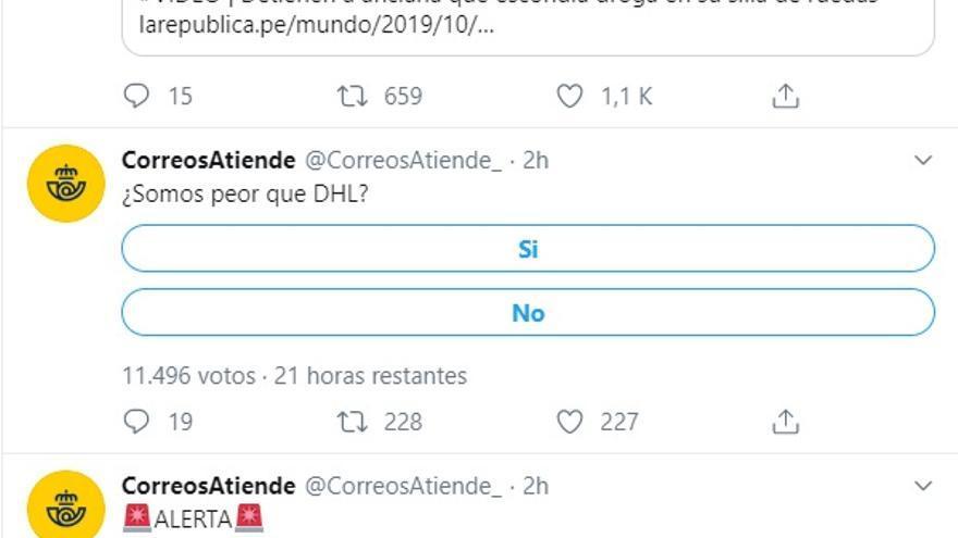 La cuenta de @correosatiende_ en Twitter, hackeada