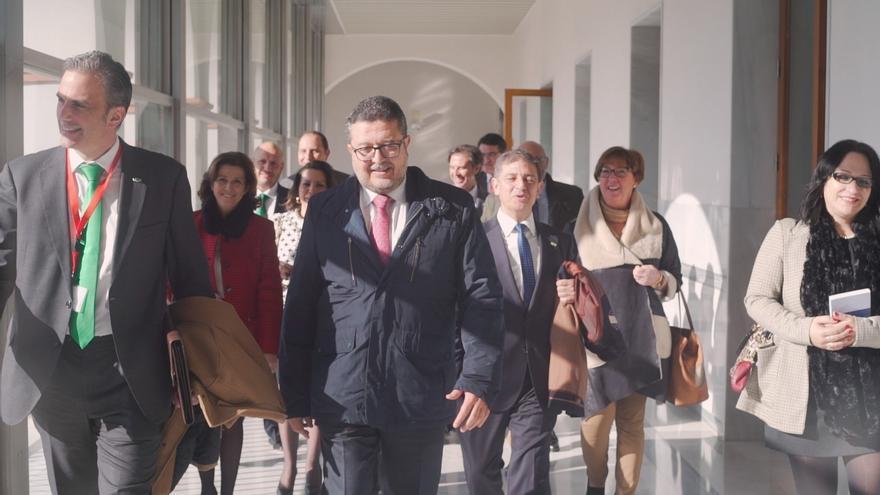 El grupo parlamentario de Vox llega al hemiciclo encabezado por Francisco Serrano y Javier Ortega, secretario general del partido.