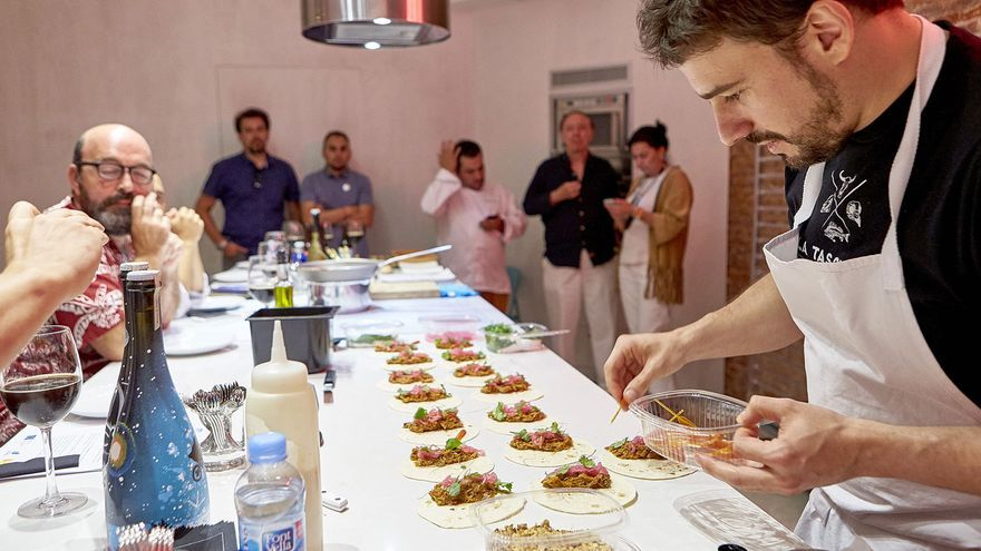 Javi Estévez durante el show cooking