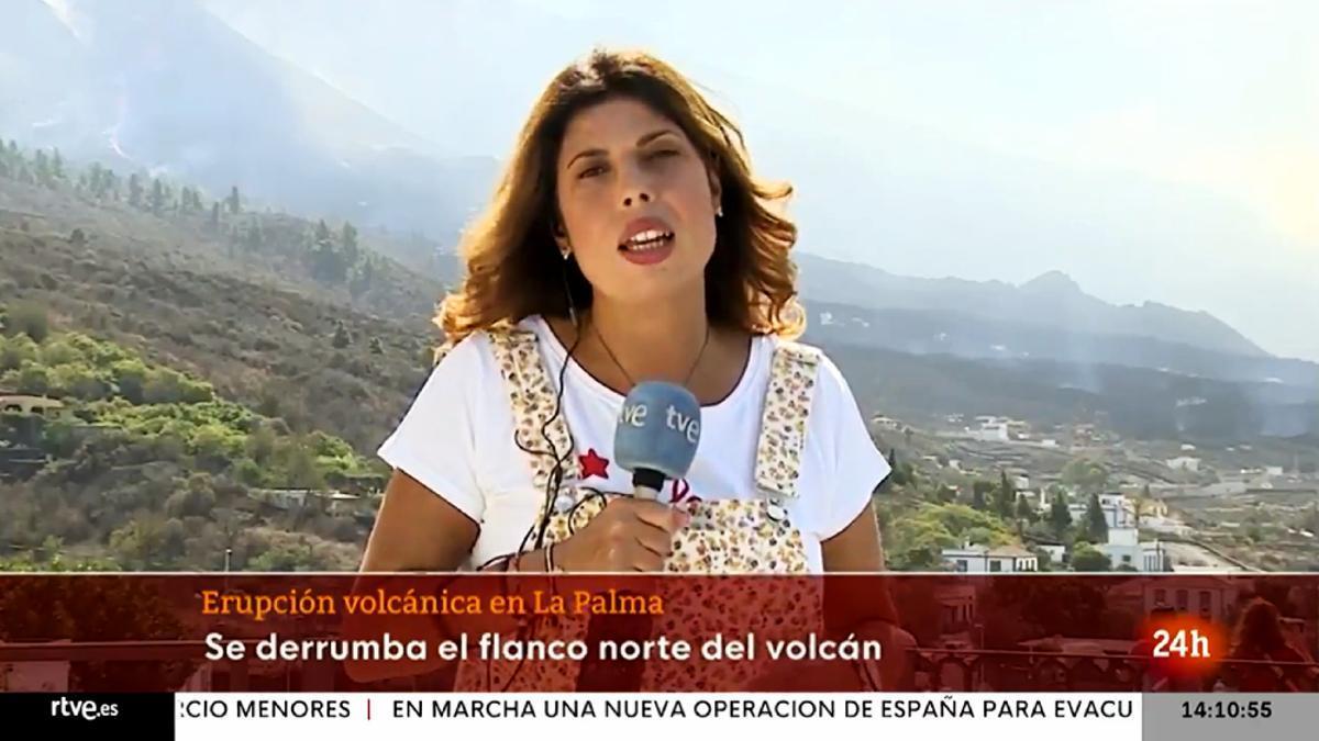 La periodista de TVE Francisca González, en una conexión desde La Palma