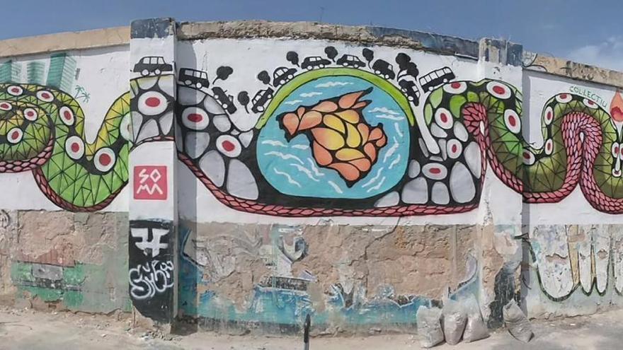 El mural de 'Soma' borrado por el Ayuntamiento de Sóller, en Mallorca.