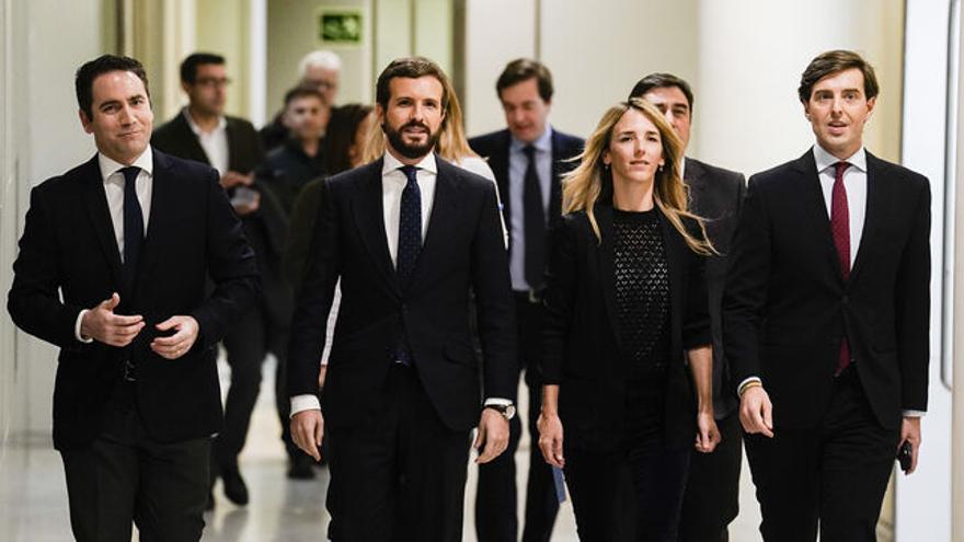 De izquierda a derecha, Teodoro García Egea, Pablo Casado, Cayetana Álvarez de Toledo y Pablo Montesinos. FLICKR PP