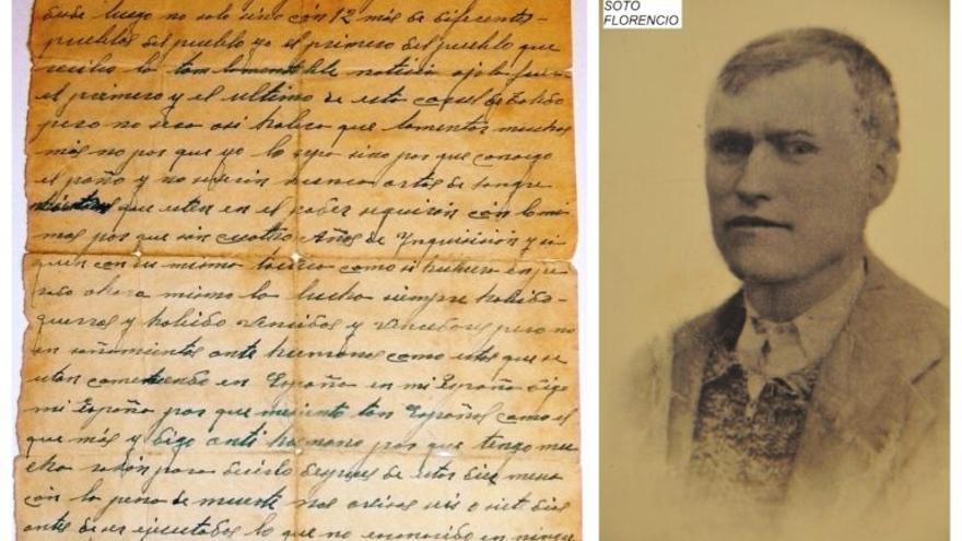 A la izquierda, la carta que escribió Florencio Soto a su mujer antes de ser fusilado en Toledo el 22 de julio de 1940 y a la derecha una imagen de él, cedidas por su nieta María del Carmen Gómez Soto