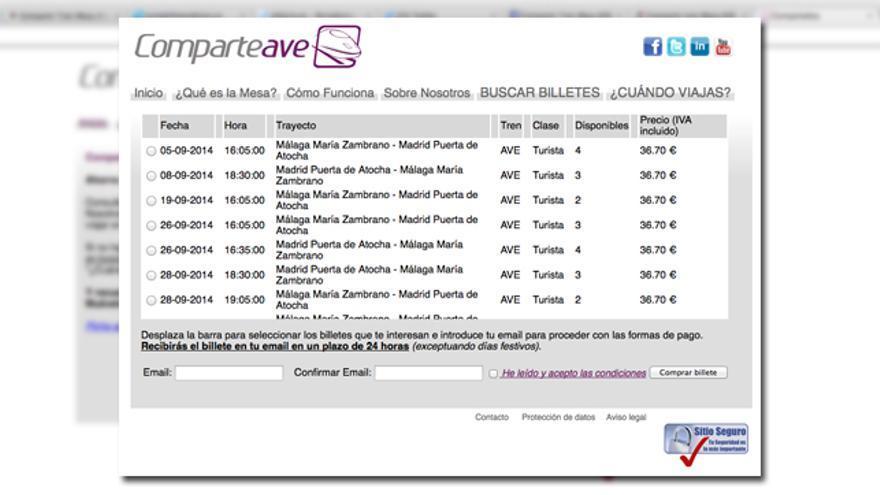 Captura de pantalla de ComparteAve.com