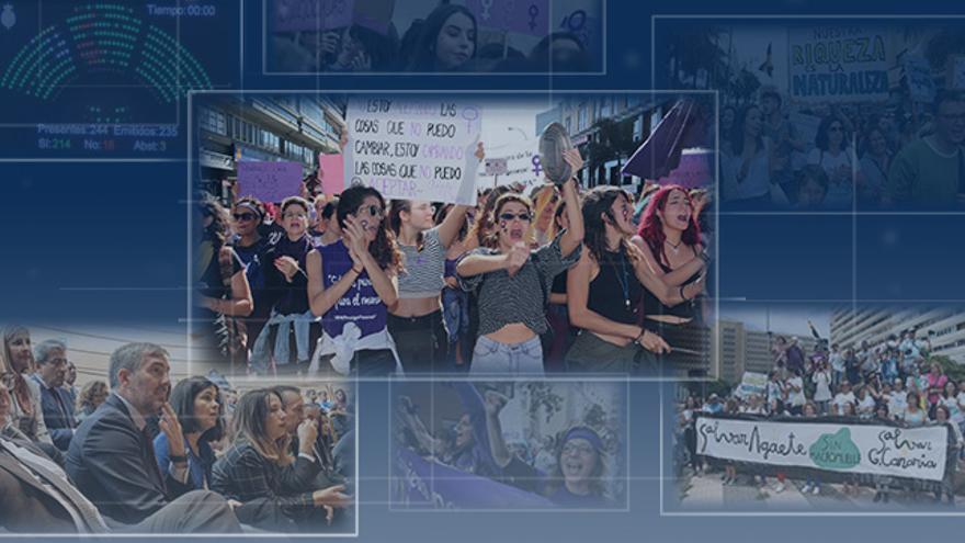 La lucha feminista ha centrado este 2018 en el que también ha destacado la manifestación de la población canaria contra el Macromuelle de Agaete o la aprobación del nuevo Estatuto de Autonomía.
