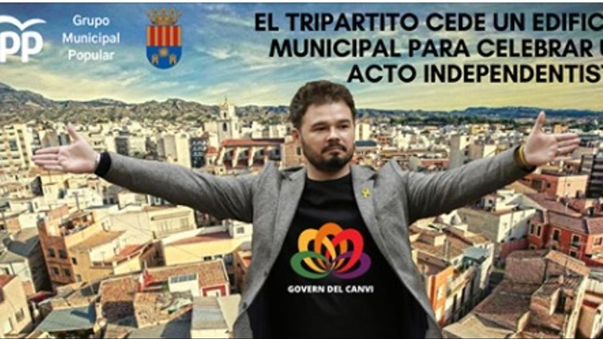 La imagen de Gabriel Rufián utilizada por los populares en sus redes sociales.