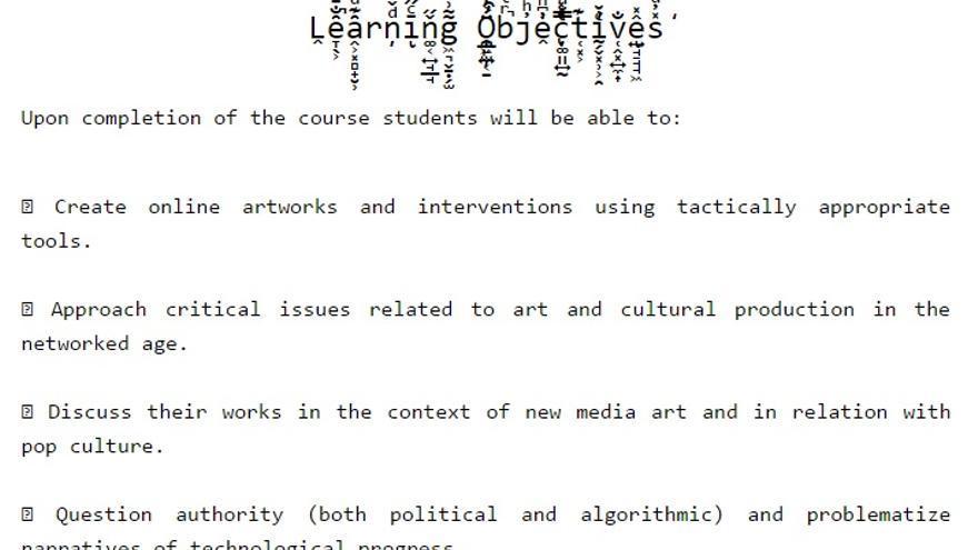 Objetivos del curso 'Internet resistence'