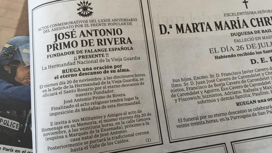 La esquela de José Antonio Primo de Rivera