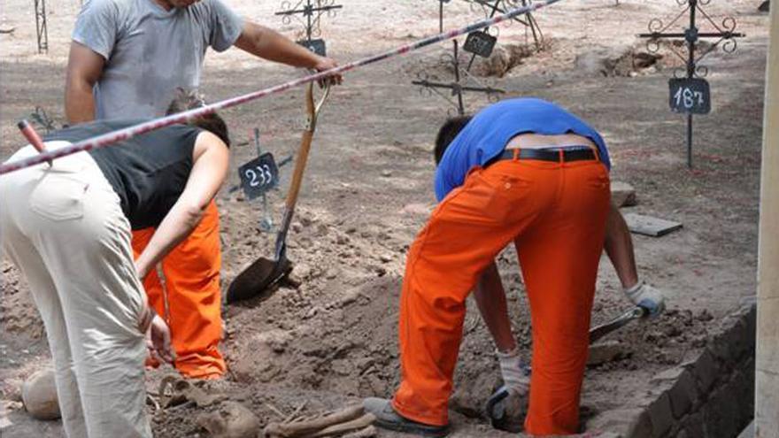 Exhumación en el Cuadro 33 del cementerio de Mendoza (Argentina).