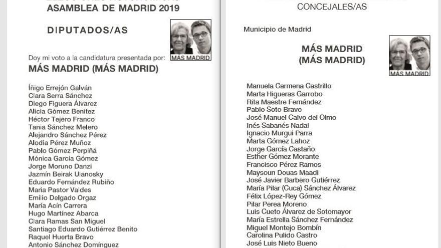 Las papeletas de Más Madrid presentadas para las elecciones municipales y autonómicas de este 26 de mayo