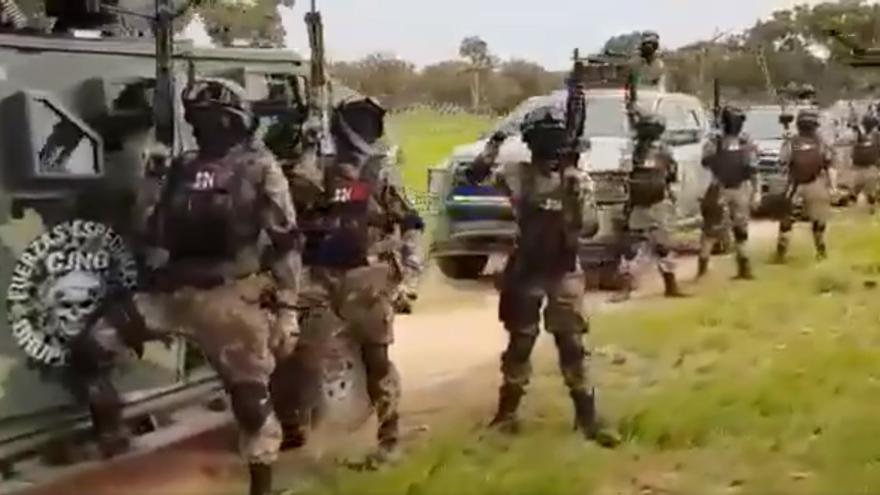 Captura de pantalla del vídeo del CJNG publicado en redes.