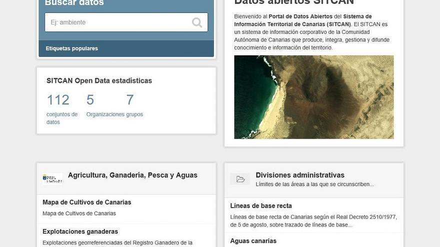 'Portal de Datos Abiertos' del Sitcan para difundir la información geográfica canaria.
