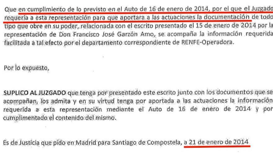 Escrito de Renfe entregando en enero de 2014 la documentación que ya tenía desde un mese y medio antes y que le había requerido el juez bajo apercibimiento de desobediencia