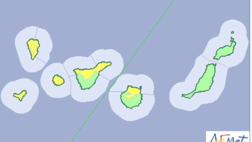 Mapa de la Aemet del aviso amarillo de riesgo por viento para este lunes, 11 de diciembre de 2017.