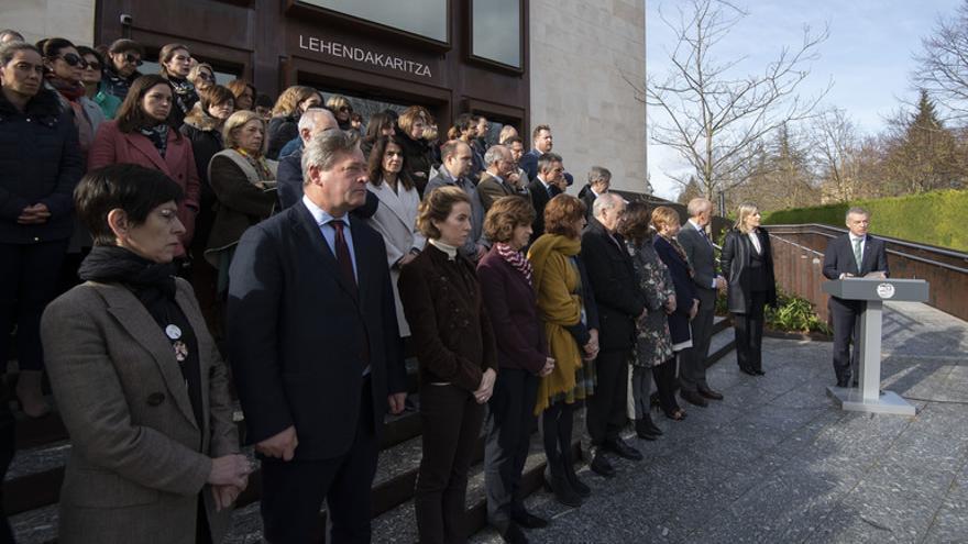Acto de este martes en Lehendakaritza para la colocación de un ejemplar del árbol de Gernika