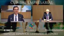 Antonio Garamendi y Pablo Isla, presidente de CEOE y de Inditex, en el acto de la patronal 'Empresas españolas liderando el futuro'.
