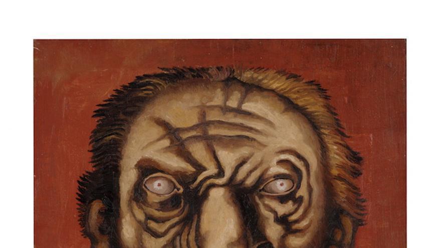 Pierre-Louis FLOUQUET, Tête d'homme à la moustache, circa 1927, oil on plywood,