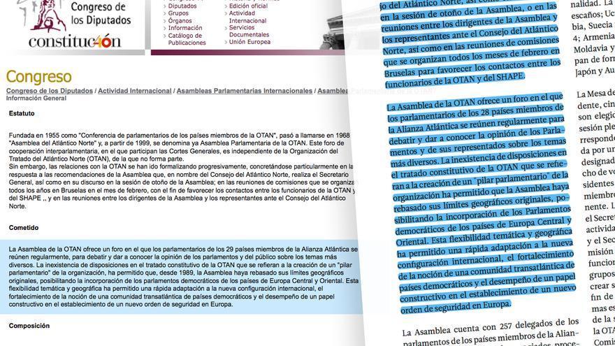Fragmento plagiado por Casado sobre la Asamblea Parlamentaria de la OTAN.