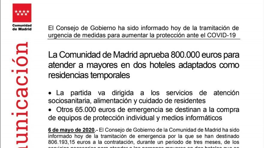 Captura de la nota de prensa enviada por la Comunidad de Madrid.