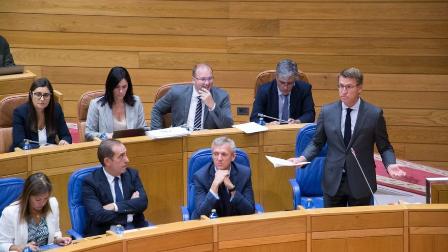 Feijóo, durante su intervención este miércoles en el Parlamento de Galicia