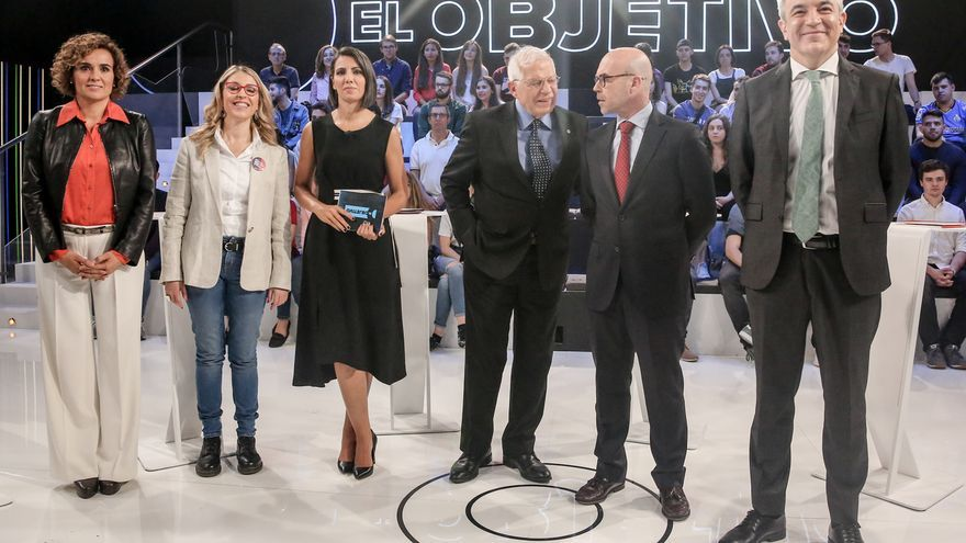 Los candidatos a las elecciones europeas en el debate de El Objetivo, en la Sexta, el 12 de mayo de 2019.