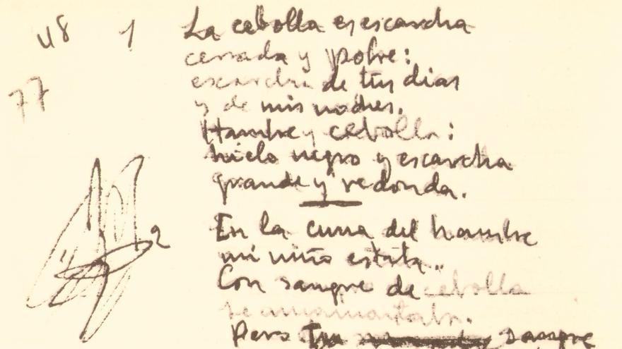 Manuscrito de 'Nanas de la cebolla' que forma parte del legado de Miguel Hernández.