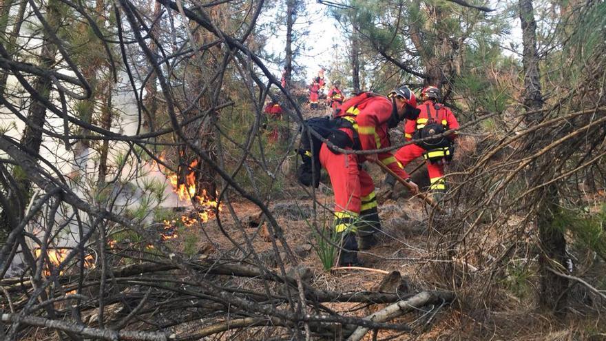 Tareas de extinción en el frente del incendio, en el pinar de los altos de Chasna