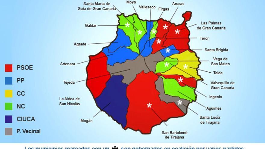 Mapa político de la isla de Gran Canaria.