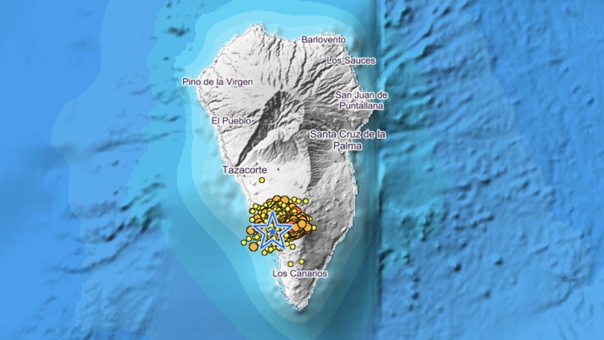 Mapa del IGN del enjambre sísmico de Cumbre Vieja.
