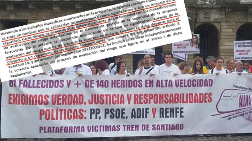 Víctimas del Alvia y fragmento del informe de la Agencia Ferroviaria Europea