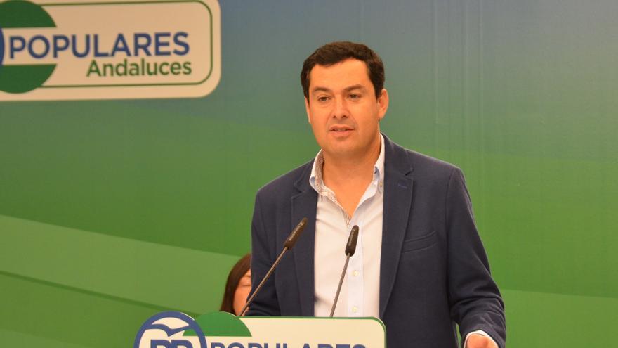 Juan Manuel Moreno habla en el comité de campaña del PP-A.