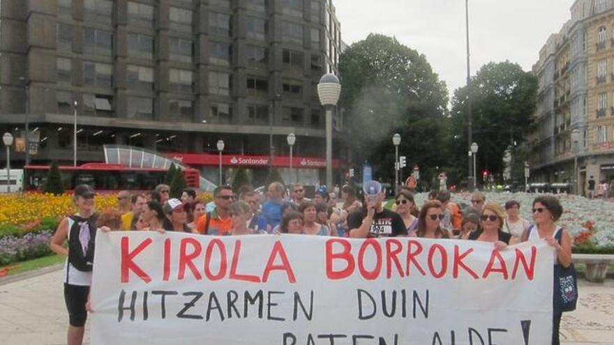 Manifestación de los trabajadores de polideportivos el pasado julio en Bilbao
