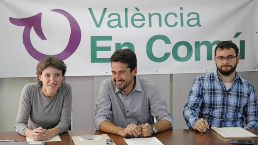 María Oliver, Jordi Peris y Roberto Jaramillo, los concejales de València en Comú en Valencia.